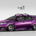 This Focus ST concept combines lifestyle elements of moving images with motorsports to make a vehicle for the modern enthusiast. The exterior is all royalty, from the Midnight Purple paint to the wide body fender flares and rear hatch wing. The ST boasts a unique roof-mounted drone helipad, adding functionality to curb appeal. A Full Race Turbo kit means turbo lag is non-existent with quick response and increased engine output. Ford Performance accessories including exhaust, short throw shifter, and illuminated door sill plates making this Focus ST ready for prime time.
