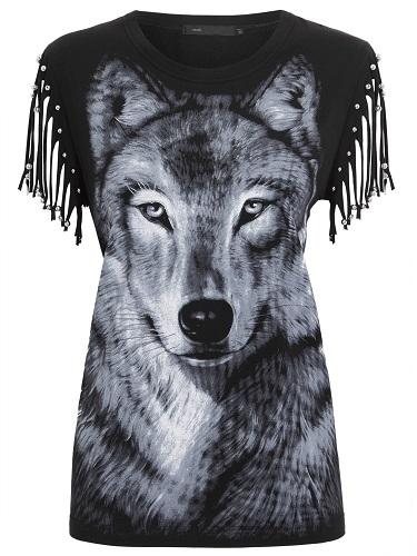 MOB - blusa lobo com franjas de  R$299,00 por R$179,00