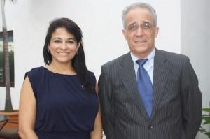 Meicy Diaz, diretora de vendas e mercado, da Accor; e Denis Matas Calderón, gerente geral do Hotel Nicolas de Ovando receberam os jornalistas para uma entrevista durante o tour